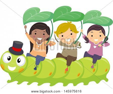 Stickman Illustration of Kids Playfully Riding a Caterpillar