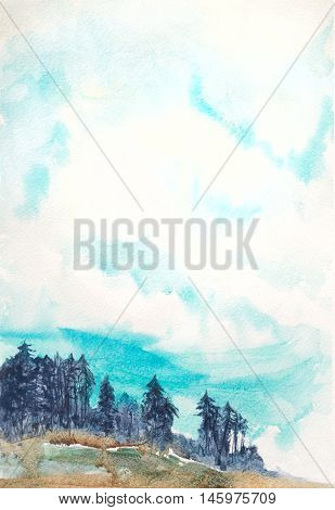 natural background with sky and pines on a hill. watercolor hand painted illustration