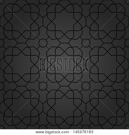 Seamless vector dark ornament in arabian style. Pattern for wallpapers and backgrounds