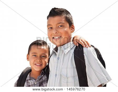 Young Hispanic Student Brothers Wearing Their Backpacks Isolated on a White Background.