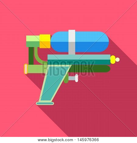 Water gun icon in flat style with long shadow. Toy symbol vector illustration
