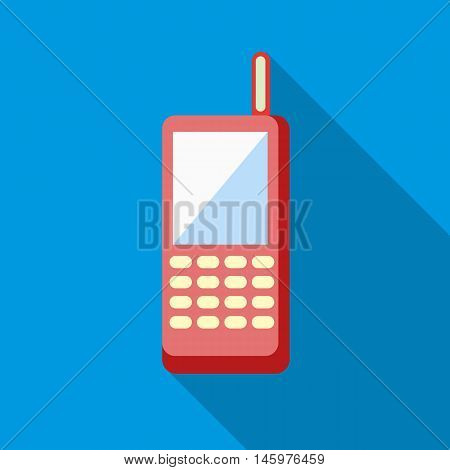 Baby phone icon in flat style with long shadow. Toy symbol vector illustration