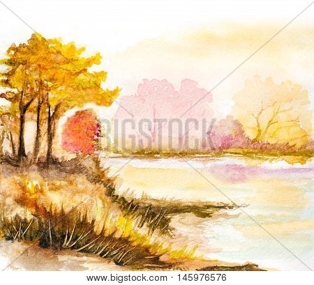 autumn trees and lake watercolor hand painted illustration