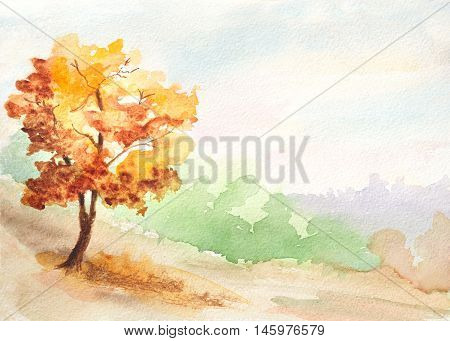 autumn tree. countryside landscape watercolor hand painted illustration