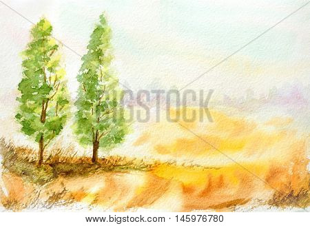 hand drawn landscape with trees and wheat field. countryside watercolor illustration