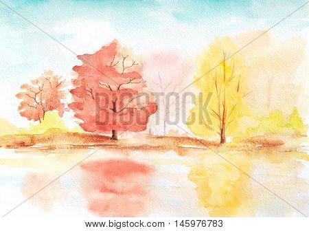 autumn trees with reflection in a lake. abstract sunny watercolor landscape illustration