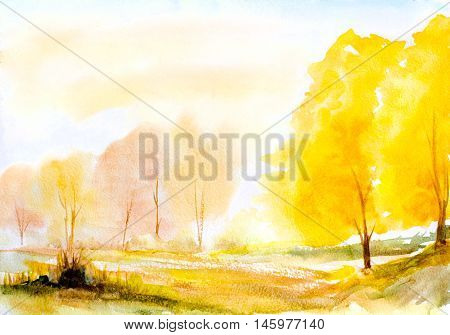 autumn yellow trees natural landscape hand painted with watercolor