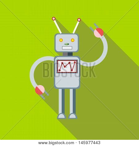 Toy robot icon in flat style with long shadow. Play symbol vector illustration