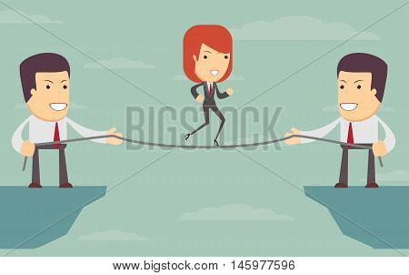 People help each other - Woman over an abyss Vector illustration