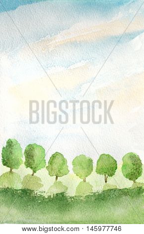 abstract background with trees grass and sky watercolor illustration