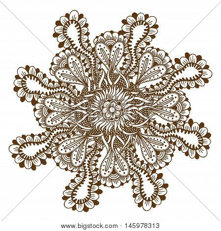 Circular floral ornament Mehndi Henna Tattoo Mandala, Yantra brown. Vintage vector banner frame card for text, invitations for wedding, birthday celebration, white background, in indian style, ethnic