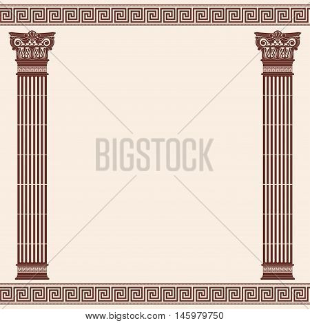 Vector Greek style frame ornament with columns. Brown pattern on a beige background.