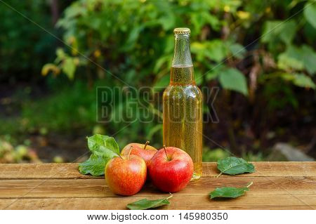 Apple cider in glass bottle and ripe fresh apples on wooden table on nature background with copy space. Apple cider beverage on wooden table. Still life with apple cider and fresh apples on wooden table horizontal shot