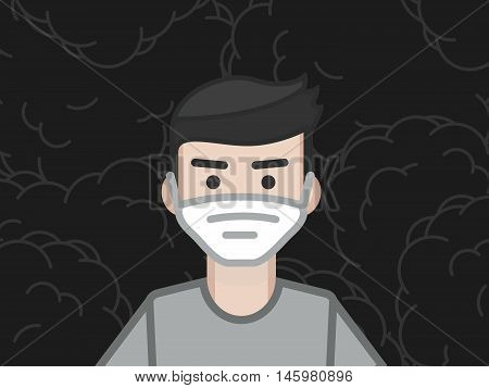 Young man in a mask for breathing in contaminated polluted environment the problem of toxic air in the metropolitan areas ecological catastrophes social issues health city