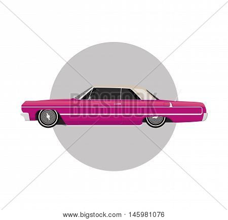 Pink lowrider on gray round background vintage retro car flat vector illustration