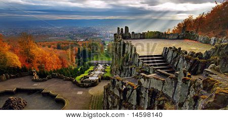 Magnificent view from Hercules monument, Wilhelmshöhe Park, Kassel, Germany