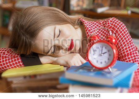 Girl Student Falls Asleep At The Books, Preparing For Exams, To Go To College