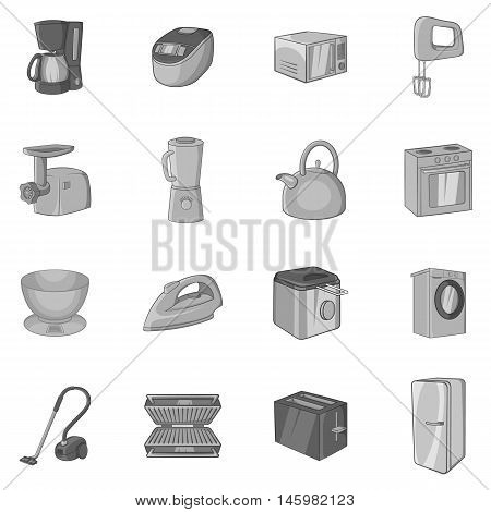 Household appliance icons set in black monochrome style. Consumer electronics set collection vector illustration