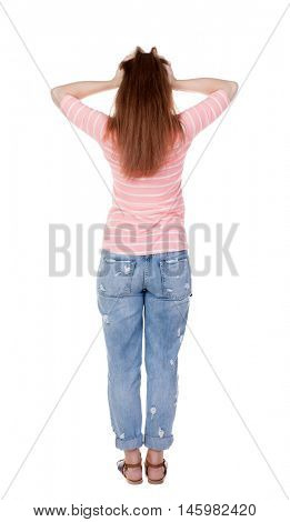 Back view of shocked woman.  The girl put her head in her hands in frustration. Rear view people collection.  backside view of person.  Isolated over white background.