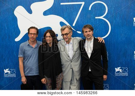 Actors Reda Kateb, Sophie Semin, director Wim Wenders and actor Jens Harzer  at the photocall for Les beaux jours d'aranjuez at the 2016 Venice Film Festival. September 1, 2016  Venice, Italy