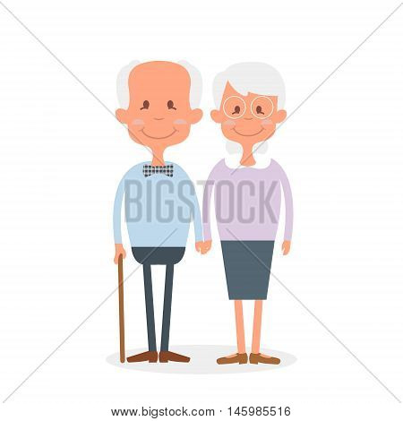 Happy old couple together. Cute Seniors couple holding hands. Happy grandparents day. Vector Illustration of happy retirement poster