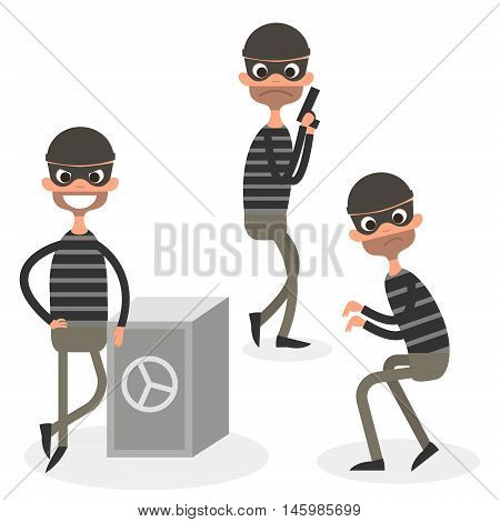 Cartoon thief character set isolated on white. Vector Illustration