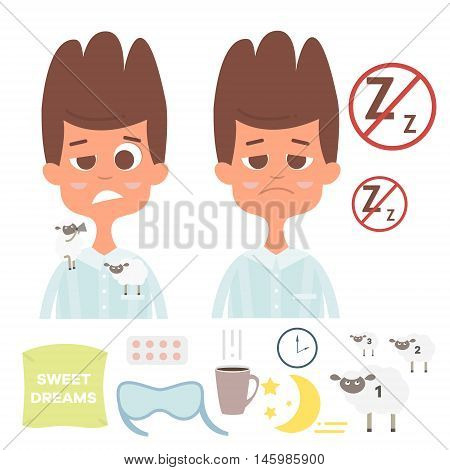 Sleepless vector set with man face, spillow, cup of tea, sheep, clock, pill, moon.