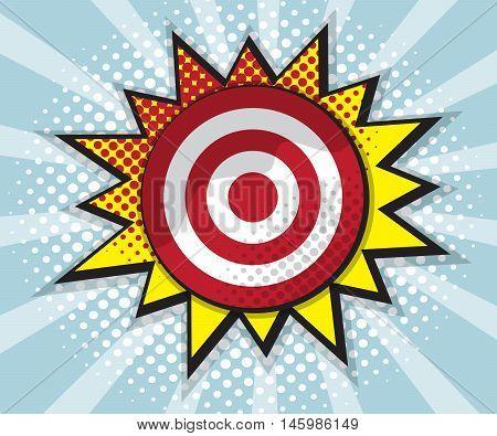 dart board target comic speech bubble pop art design background vector illustration