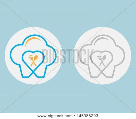chef hat with spoon and fork icon food lover icon chef hat icon vector food lover concept