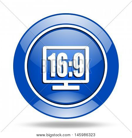 Modern design blue glossy web 16 9 display vector icon. Eps 10 button.