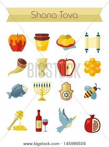 Rosh Hashanah Shana Tova or Jewish New year flat vector icons set