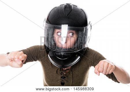 Woman With Motorcycle Helmet