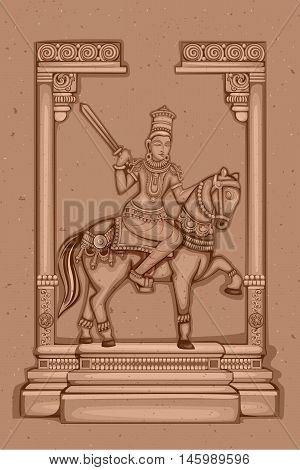 Vector design of Vintage statue of Indian Lord Kalki sculpture one of avatar from the Dashavatara of Vishnu engraved on stone poster