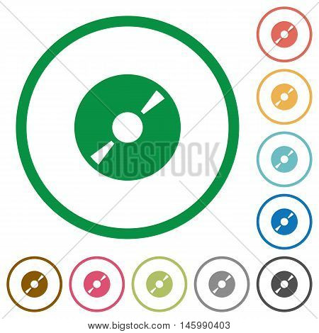 Set of DVD disc color round outlined flat icons on white background