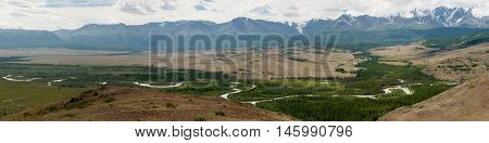 Altay Mountains, Chuya River And Kuray Steppe. Panorama