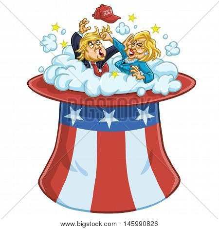 Donald Trump Fighting Against Hillary Clinton On Uncle Sam's Hat
