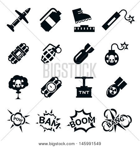 Bomb icons. Black and white bombs pictograms. Explosion and destruction signs, vector illustration