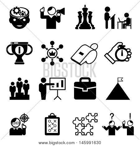 Business mentoring icons and coaching signs. Mentorship skill and tutorship, leadership, management. Vector illustration