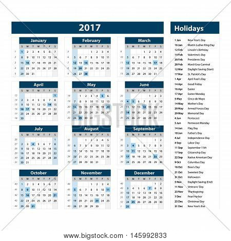 2017 Calendar - Illustration Vector Template Of 2017 Calendar