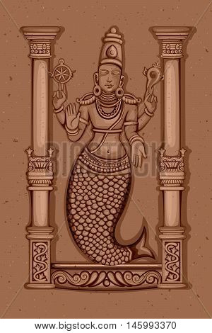 Vector design of Vintage statue of Indian Lord Matsya sculpture one of avatar from the Dashavatara of Vishnu engraved on stone