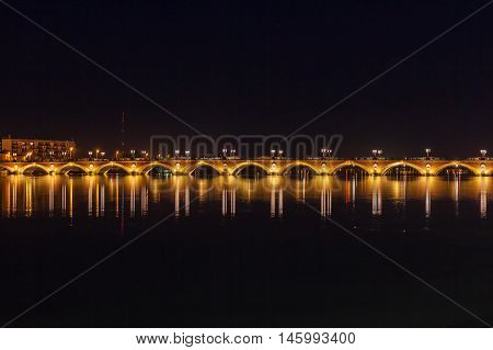 Stone Bridge Across Garonne River, Bordeaux
