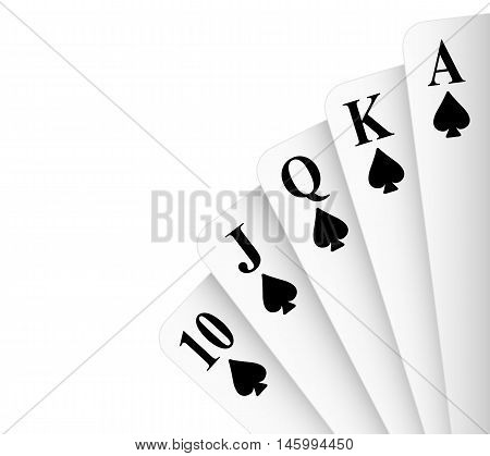 Spades suit royal flush poker hand vector