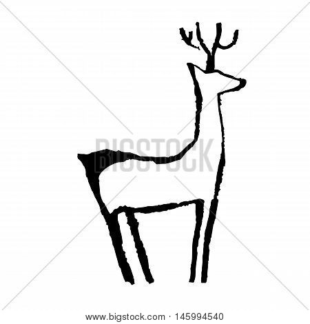 Vector grunge silhouette of deer in primitive art style