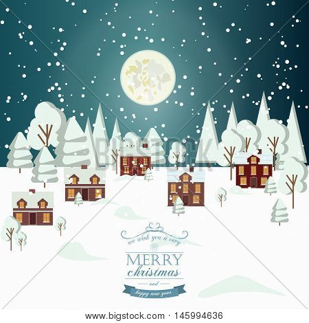 Winter Snow Urban Countryside Landscape City Village Real Estate New Year Christmas Night and Day Background Modern Flat Design Christmas house style. Full moon