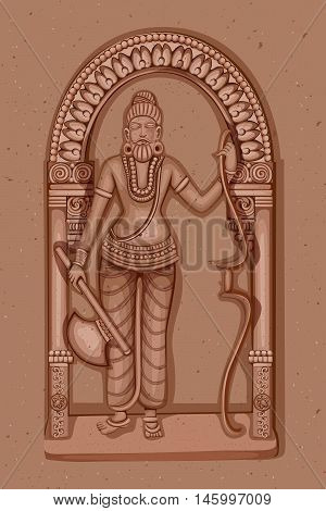 Vector design of Vintage statue of Indian Lord Parashurama sculpture one of avatar from the Dashavatara of Vishnu engraved on stone