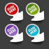 Vector click here message icon on arrow sticker set. Transparent shadow easy replace background and edit colors. poster