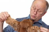 Bald senior man with dog. Emotional portraits series. Isolated on white. poster