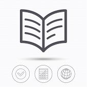 Book icon. Study literature sign. Education textbook symbol. Check tick, graph chart and internet globe. Linear icons on white background. Vector poster