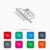 Steam ironing icon. Iron housework tool sign. Linear icons in squares on white background. Flat web symbols. Vector poster