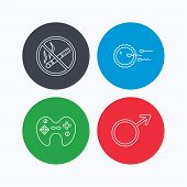 No smoking, family planning and game joystick icons. Male linear sign. Linear icons on colored buttons. Flat web symbols. Vector poster